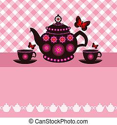 panela chá, e, chá, copos