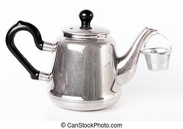 panela chá, metal, fundo branco