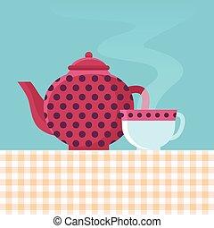 panela chá, vetorial, copo