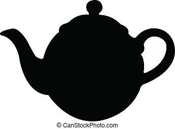 panela chá, vetorial, silueta