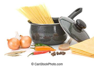 panela, com, ingredientes, para, sopa galinha