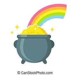 panela ouro, com, arco íris