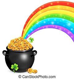 panela ouro, com, magia, arco íris