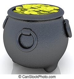 panela ouro, moedas.