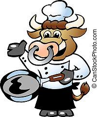 panela, segurando, cozinheiro, cozinheiro, touro