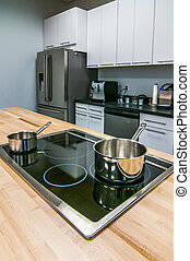 panelas, ilha, fogão, açougueiro, topo tabela, cozinha