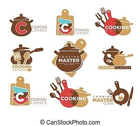 panelas, jogo, cozinhar, cutelaria, promocional, emblemas, classes