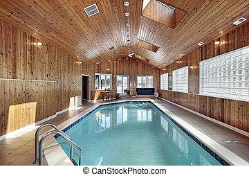 paneled, 木, 天井, 水泳