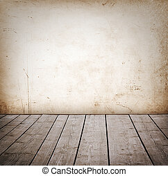 paneled, grunge, fal, emelet, room., erdő, belső