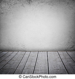 paneled, grunge, mur, plancher, room., bois, intérieur