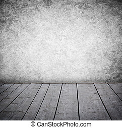 paneled, grunge, vägg, golv, room., ved, inre