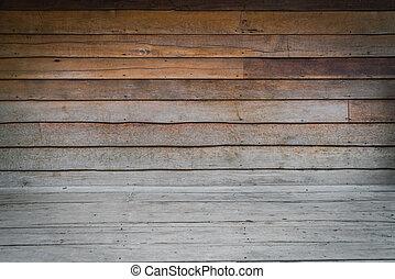 paneled, salle, mur, floor., dimensionnel, bois