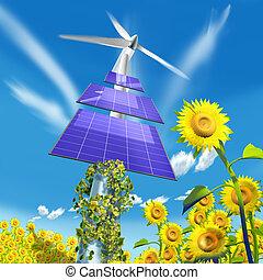 panelen, energie, en, zonnebloemen