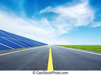panelen, snelweg, zonne