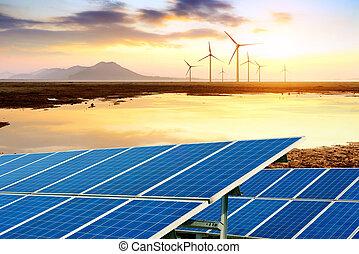 panelen, turbines, wind, zonne