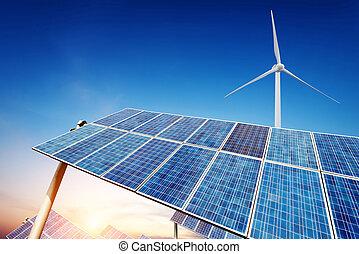 panelen, turbines, zonne, wind