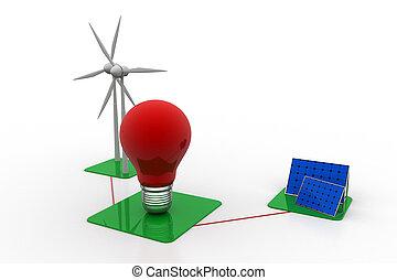 paneler för solar energi, och, slingra turbin