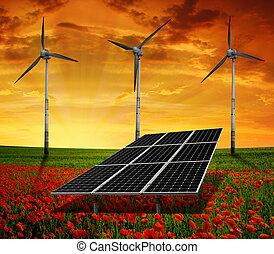 paneler för solar energi, slingra turbiner