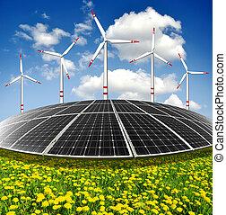 paneles de energía solar, enrolle turbinas