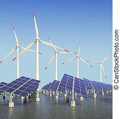 paneles de energía solar, y, turbina del viento