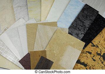 paneles, mármol, muestras, plástico