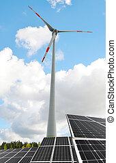 paneles solares, con, viento, turbine.