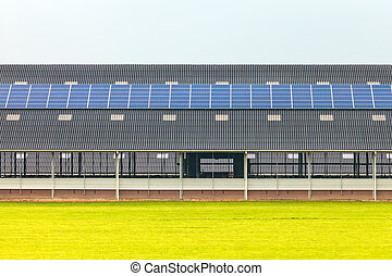 paneles solares, en, un, nuevo, granja, granero