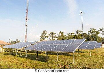 paneles solares, y, turbina del viento, con, azul, sky.