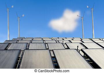 paneles solares, y, turbina del viento, contra, cielo azul