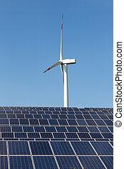 paneles solares, y, turbina del viento, para, renovable, electricidad, producción