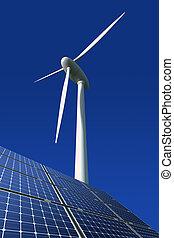 paneles solares, y, turbina del viento