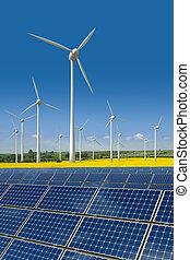 paneles, turbinas, viento, solar