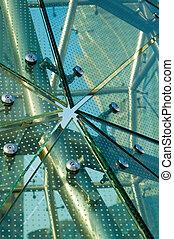 Panels of green glass