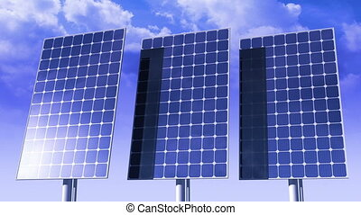 panels, sun., солнечный, tracking