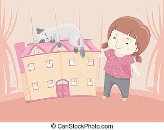 panenka, ubytovat se, ilustrace, kočka, děvče, kůzle