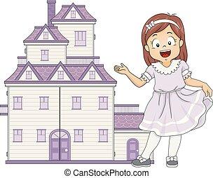 panenka, ubytovat se, přivítání, ilustrace, děvče, kůzle