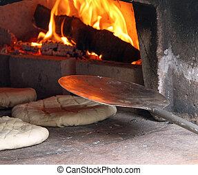 panes, wood-fired, crudo, pedazos, cocinado, horno, bread