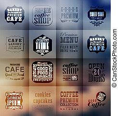 panetteria, etichette, retro, tipografia