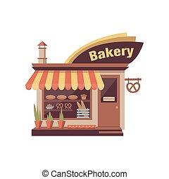 panetteria, negozio, facade costruzione, con, cartello, e, bacheca, con, panetteria, products., città, commerciale, proprietà, exterior., appartamento, vettore, bianco