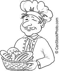 panettiere, con, cesto per il pane, contorno