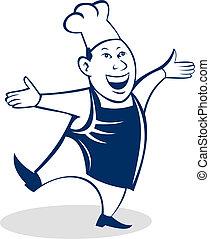 panettiere, felice, cuoco, chef, cartone animato, asiatico