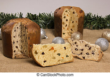 Panettone fruit and chocolate, typical dessert for Christmas