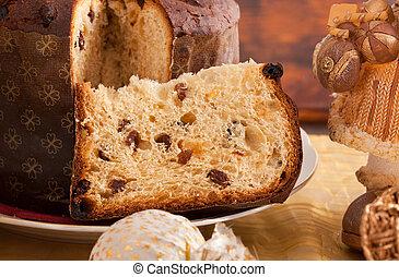 panettone, tradicional, pastel de christmas, italiano