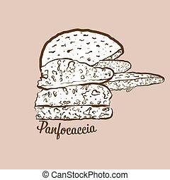 panfocaccia, illustration, hand-drawn, pain