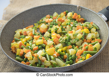 panful, vegetales,  oriental, coloreado