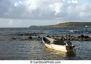 panga fishing boat Caribbean Sea Big Corn Island Nicaragua