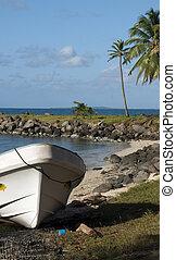 panga native boats on shore North End Big Corn Island Nicaragua Central America