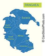 Pangaea or Pangea. Vector illustration of supercontinent that existed during the late Paleozoic and early Mesozoic eras. Map in flat style. Element for your design, print, education. Poster.