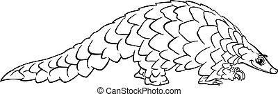 pangolin animal cartoon coloring page - Black and White...