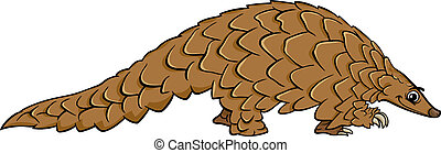 pangolin, dessin animé, illustration, animal